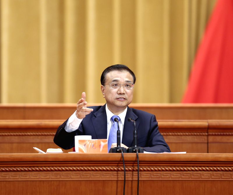 BEIJING, May 30, 2016 - Chinese Premier Li Keqiang addresses an event conflating the national conference on science and technology, the biennial conference of the country's two top think tanks, the ...