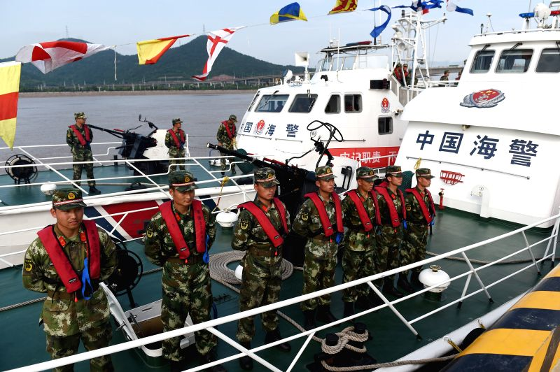 BEIJING, May 31, 2016 - Soldiers stand on a vessel of coast guard after a launch ceremony of marine security mission for the Group of 20 (G20) 2016 summit in east China's Zhejiang Province, May 31, ...