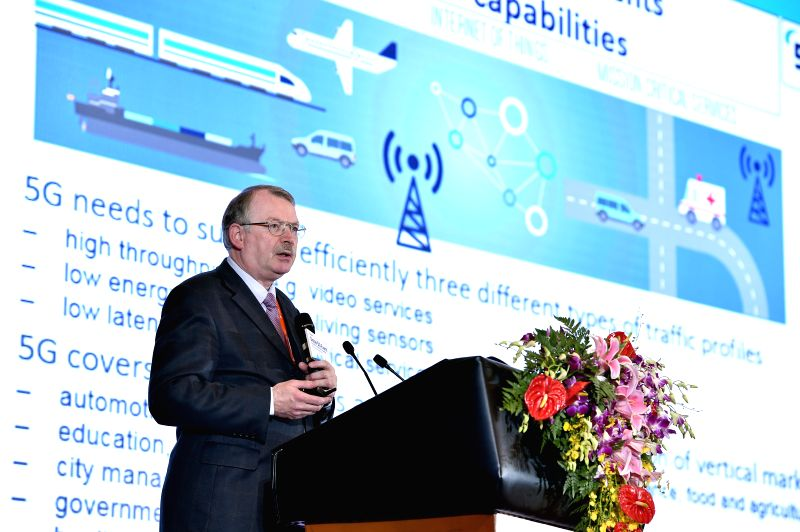 BEIJING, May 31, 2016 - Werner Mohr, chairman of the 5G-PPP Association, gives a speech during the first Global 5G Event in Beijing, capital of China, May 31, 2016. The theme of the two-day event is ...