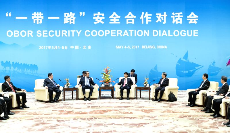 BEIJING, May 4, 2017 - Meng Jianzhu, head of the Commission for Political and Legal Affairs of the Communist Party of China (CPC) Central Committee, meets with officials attending a security ...