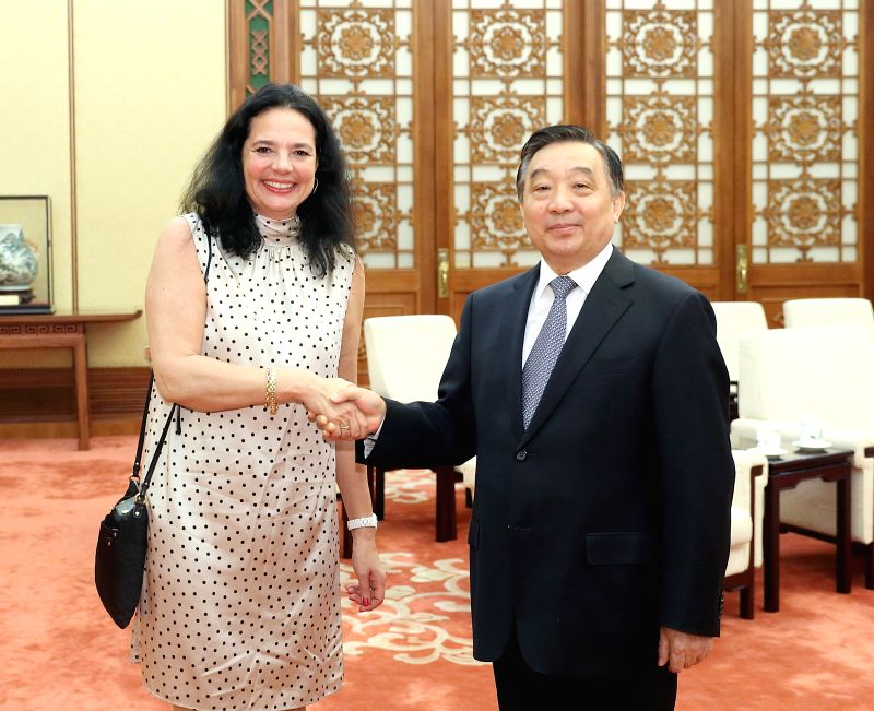 BEIJING, May 8, 2017 - Wang Chen (R), vice chairman of the National People's Congress (NPC) Standing Committee, meets with Speaker of the Belgian Senate Christine Defraigne in Beijing, capital of ...