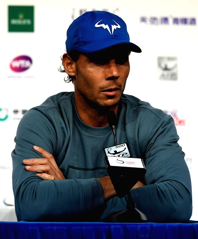 BEIJING, Oct. 7, 2017 - Rafael Nadal of Spain reacts during the press conference after winning the men's singles semifinal match against Grigor Dimitrov of Bulgaria at the China Open tennis ...