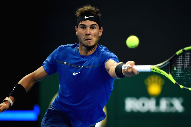 BEIJING, Oct. 7, 2017 - Rafael Nadal of Spain returns the ball during the men's singles semifinal match against Grigor Dimitrov of Bulgaria at the China Open tennis tournament in Beijing on Oct. 7, ...