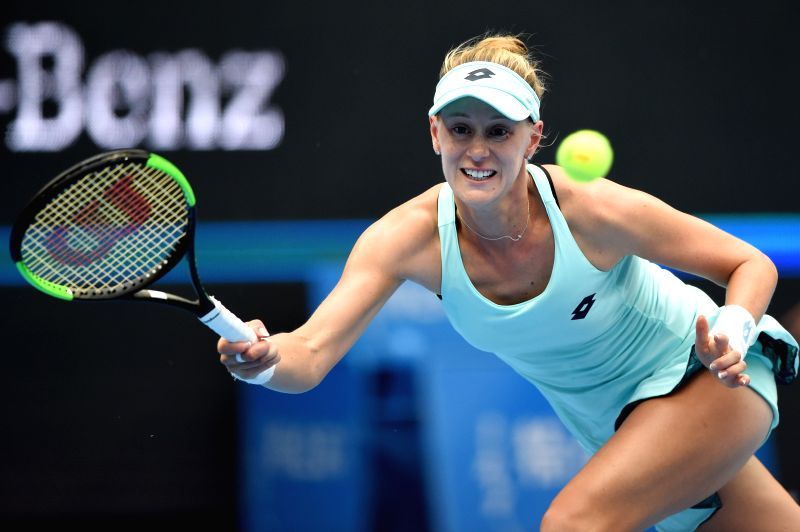 BEIJING, Sept. 30, 2017 - Alison Riske of the United States of America returns a shot during the women's singles first round match against Romania's Simona Halep at 2017 China Open in Bejing, capital ...