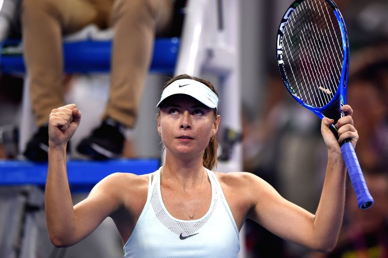 BEIJING, Sept. 30, 2017 - Maria Sharapova of Russia celebrates after the women's singles first round match against Anastasija Sevastova of Latvia at 2017 China Open in Bejing, capital of China, Sept. ...