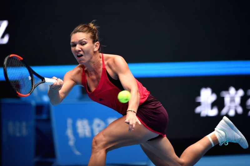 BEIJING, Sept. 30, 2017 - Romania's Simona Halep returns a shot during the women's singles first round match against Alison Riske of the United States of America at 2017 China Open in Bejing, capital ...