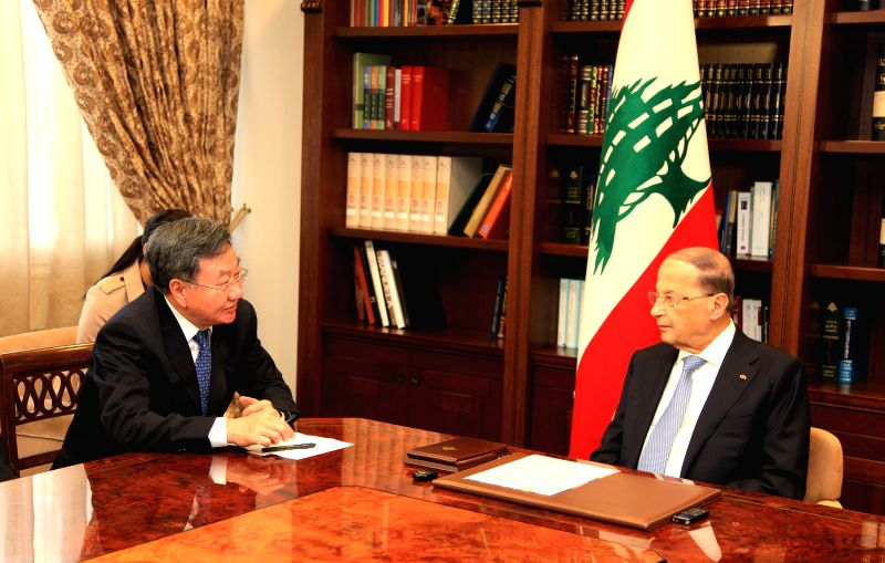 BEIRUT, April 22, 2017 - Lebanon's President Michel Aoun (R) meets with Jiang Zengwei, head of the China Council for the Promotion of International Trade (CCPIT), in Beirut, capital of Lebanon, on ...