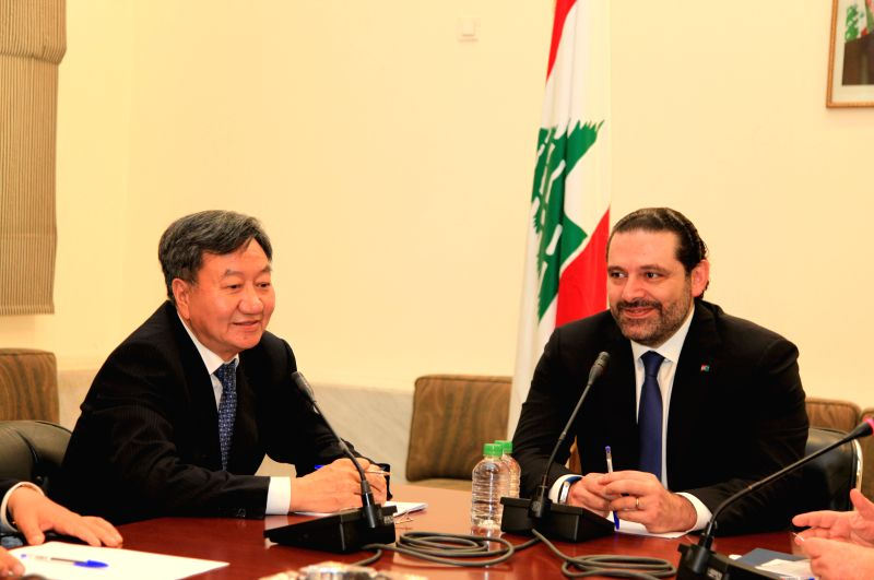 BEIRUT, April 22, 2017 - Lebanon's Prime Minister Saad Hariri (R) meets with Jiang Zengwei, head of the China Council for the Promotion of International Trade (CCPIT), in Beirut, capital of Lebanon, ... - Saad Hariri