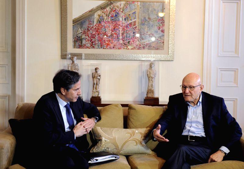 U.S. Deputy Secretary of State Antony Blinken meets with Lebanon's Prime Minister Tammam Salam (R) in Beirut, Lebanon, on April 6, 2015. Visiting U.S. Deputy ... - Tammam Salam