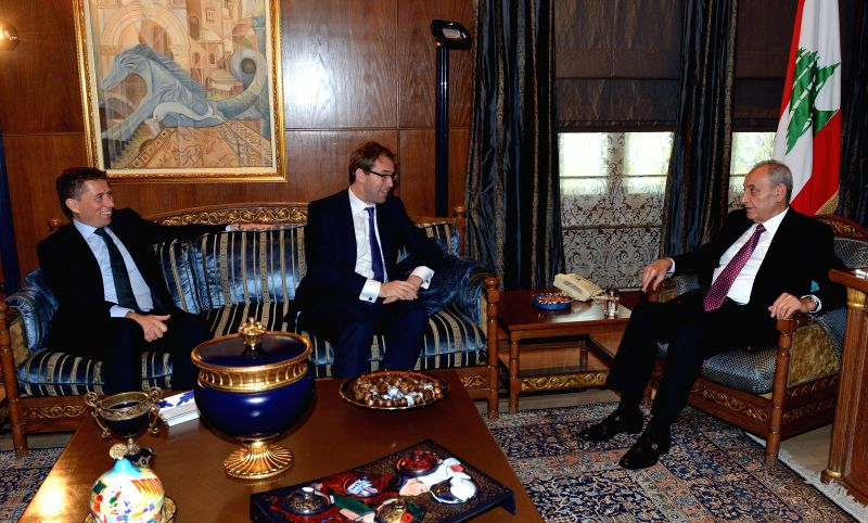 Tobias Ellwood (C), under secretary at Britain's foreign and commonwealth office for Middle East and North Africa affairs, meets with the Speaker of the Lebanese ...