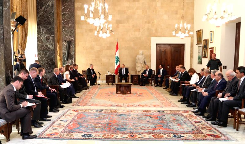BEIRUT, Jul. 27, 2018 - Lebanese President Michel Aoun (C) meets with visiting Russian delegation in Beirut, Lebanon, July 26, 2018. A Russian delegation arrived in the Lebanese capital Beirut on ...