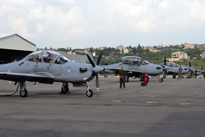 BEIRUT, June 13, 2018 - Four A-29 Super Tucano aircrafts which the Lebanese Air Force received from the United States during a ceremony are seen at Hamat air base in the northern city of Batroun, ...