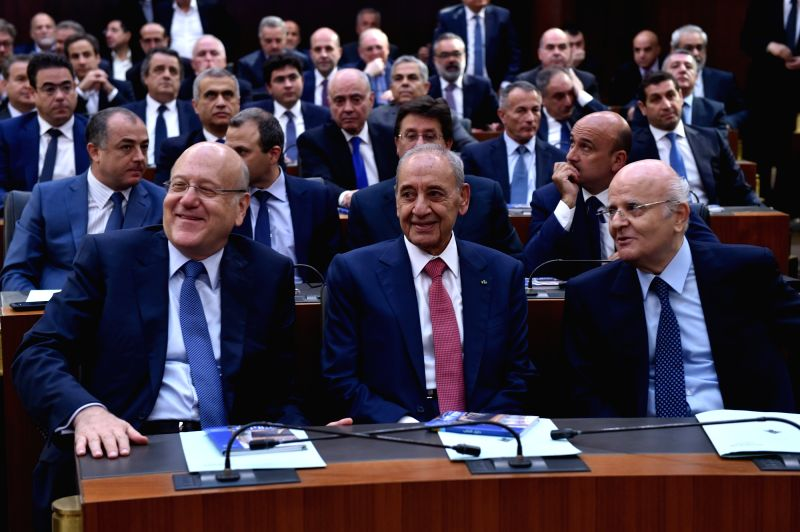 BEIRUT, May 23, 2018 - Nabih Berri (C Front) attends the first session of the newly elected Lebanese parliament in Beirut, Lebanon, on May 23, 2018. The newly elected Lebanese parliament convened ...