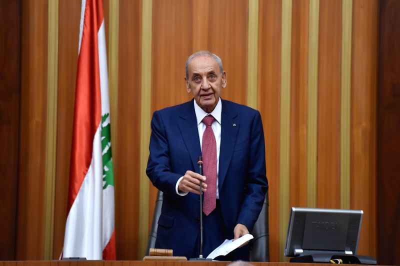 BEIRUT, May 23, 2018 - The new speaker of Lebanese parliament Nabih Berri addresses the first session of the newly elected Lebanese parliament in Beirut, Lebanon, on May 23, 2018. The newly elected ...