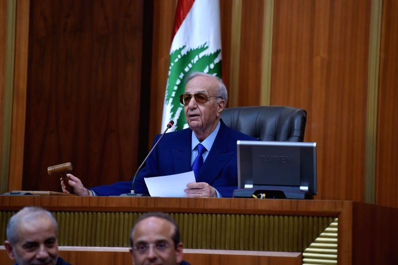 BEIRUT, May 23, 2018 - The oldest lawmaker of the newly elected Lebanese parliament Michel Murr chairs the parliament's first session in Beirut, Lebanon, on May 23, 2018. The newly elected Lebanese ...