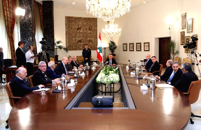 Lebanese President Michel Suleiman (C) presides over the meeting of the Lebanese National Dialogue Committee at Baabda Presidential Palace, Beirut, Lebanon, May 5, ...