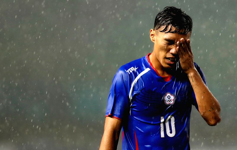 BEKASI, Aug. 10, 2018 - Chen Chaoan of Chinese Taipei reacts during the Men's Football Group A match between Chinese Taipei and Palestine at the 18th Asian Games at Patriot Stadium in Bekasi, ...