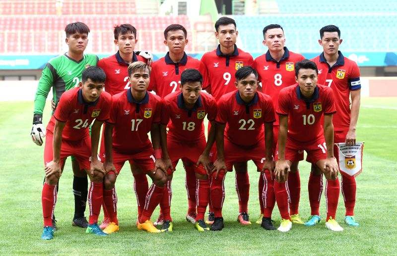BEKASI, Aug. 10, 2018 - Players of Laos pose for a team photo before the Men's Football Group A match between Hong Kong of China and Laos at the 18th Asian Games at Patriot Stadium in Bekasi, ...