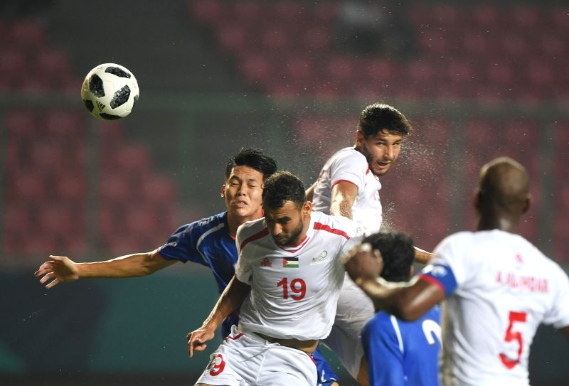 BEKASI, Aug. 10, 2018 - Sameh Maraaba (2nd L) of Palestine competes during the Men's Football Group A match between Chinese Taipei and Palestine at the 18th Asian Games at Patriot Stadium in Bekasi, ...