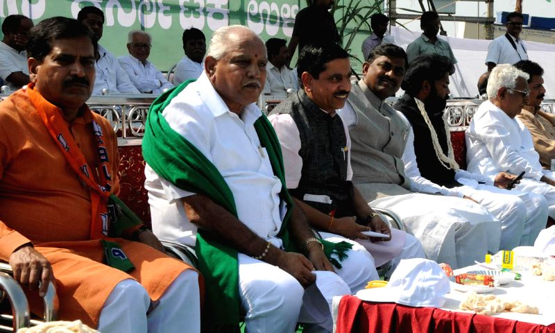 BJP leader BS Yeddiyurappa with BJP Karnataka president Prahlad Joshi and other leaders at a demonstration organised in support of the various demands of sugarcane farmers in front of ... - Prahlad Joshi