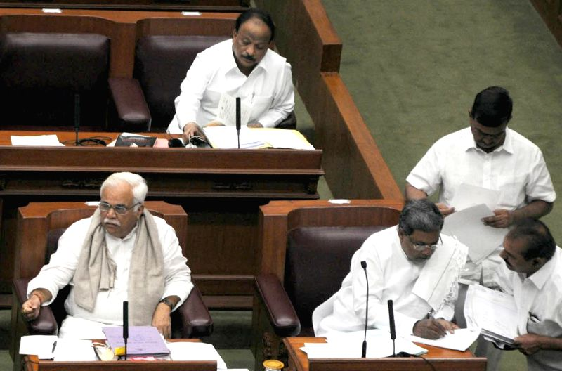 Karnataka Chief Minister Siddaramaiah during the winter session of the Karnataka Legislative Assembly at  Belagavi on Dec 10, 2014. - Siddaramaiah