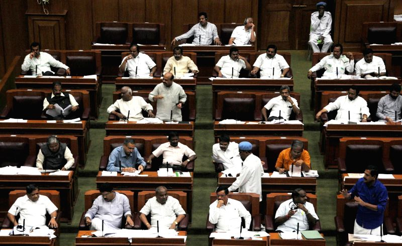 Karnataka legislators during the winter session of the Karnataka Legislative Assembly at  Belagavi on Dec 10, 2014.
