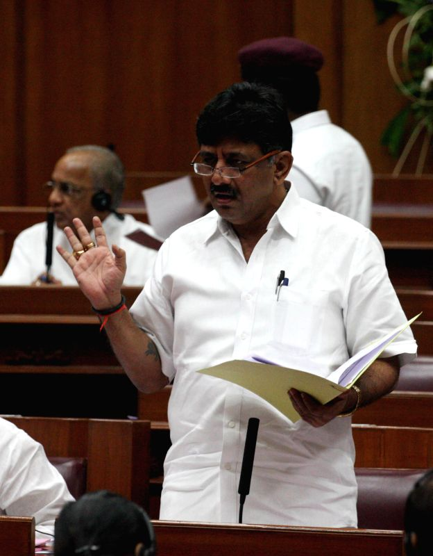 Karnataka Minister D K Shivakumar addresses during the winter session of Karnataka assembly at Suvarna Soudha, in Belagavi on Dec 16, 2014. - D K Shivakumar