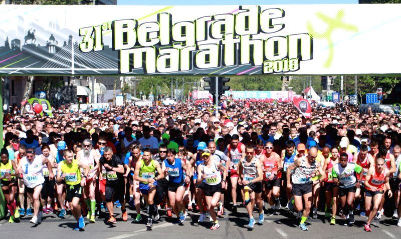BELGRADE, April 21, 2018 - Competitors start their race at the 31th Belgrade marathon in Belgrade, Serbia on April 21, 2018.