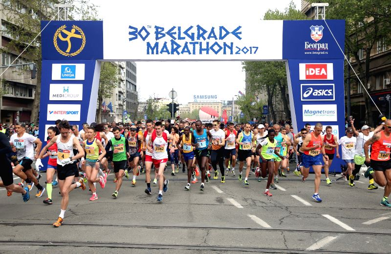 BELGRADE, April 22, 2017 - Competitors start their race at the 30th Belgrade marathon in Belgrade, Serbia on April 22, 2017.