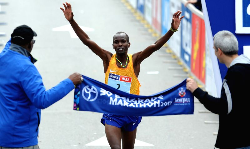 BELGRADE, April 22, 2017 - Kenya's Stephen Kipngetich Katam celebrates victory as he crosses the finish line at the 30th Belgrade marathon in Belgrade, Serbia on April 22, 2017.