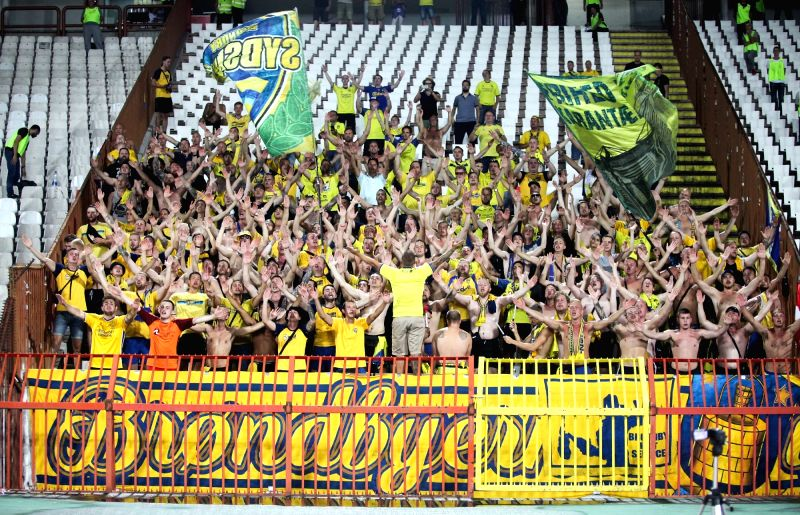 BELGRADE , Aug. 10, 2018 - Brondby's fans cheer during UEFA Europa League third qualifying round football match between Spartak Subotica and Brondby in Belgrade, Serbia on Aug. 9. 2018. Brondby won ...