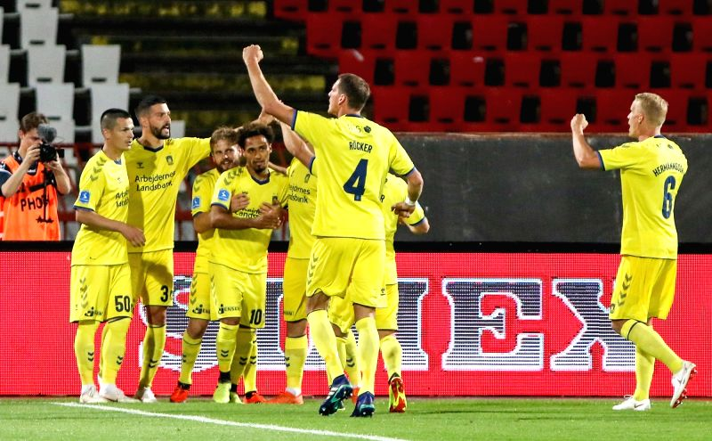 BELGRADE , Aug. 10, 2018 - Brondby's players celebrate the goal during UEFA Europa League third qualifying round football match between Spartak Subotica and Brondby in Belgrade, Serbia on Aug. 9. ...