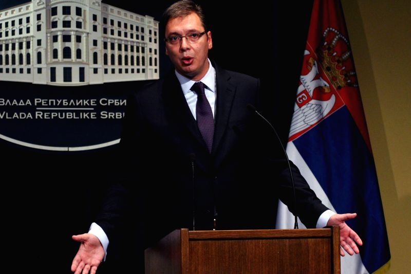 Serbian Prime Minister Aleksandar Vucic holds a press conference about the EU demarche concerning its trade with Russia in the light of EU sanctions in Belgrade, .. - Aleksandar Vucic
