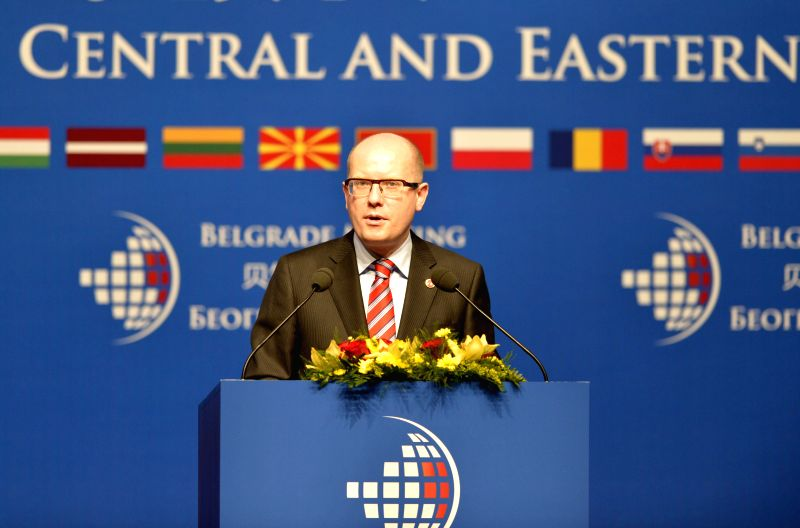 Czech Prime Minister Bohuslav Sobotka speaks during the Economic and Trade Forum of China and Central and Eastern European (CEE) Countries, in Belgrade, Serbia, ... - Bohuslav Sobotka