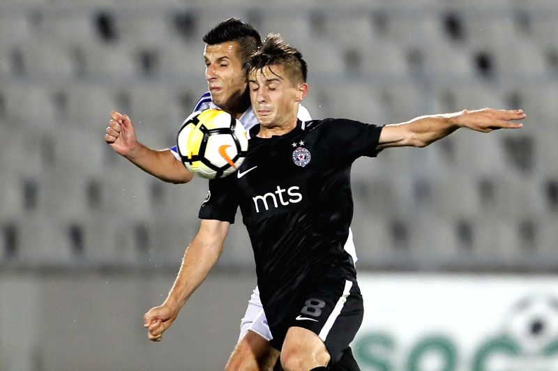 BELGRADE, July 20, 2018 - Partizan's Armin Djerlek (R) vies with Rudar's Armin Bosnjak during the first qualifying round UEFA Europa League football match between Partizan and Rudar in Belgrade, ...