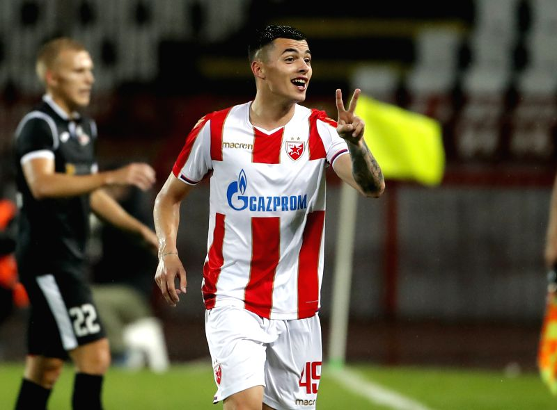 BELGRADE, July 25, 2018 - Crvena Zvezda's Nemanja Radonjic celebrates his second goal during the UEFA Champions League second qualifying round football match between Crvena Zvezda and Suduva in ...