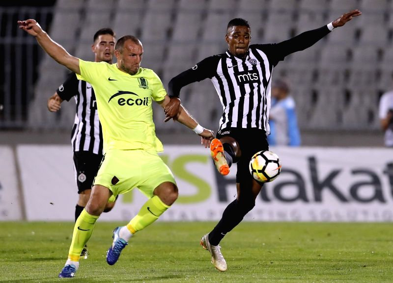 BELGRADE, July 27, 2018 - Trakai's Evgeny Osipov (front L) vies with Partizan's Ricardo Gomes during the second qualifying round UEFA Europa League football match in Belgrade, Serbia, July 26, 2018. ...