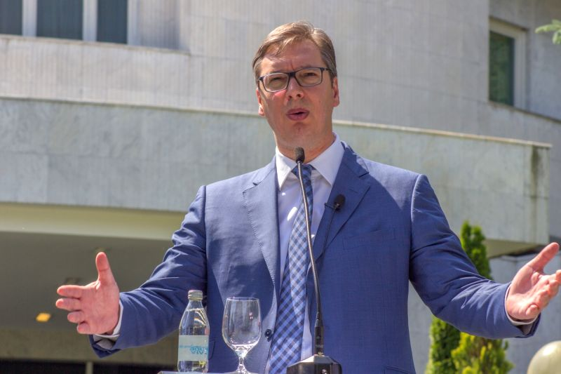 Belgrade, May 30, 2017 - Serbia's Prime Minister and President-elect Aleksandar Vucic speaks in a press conference in Belgrade, Serbia on May 30, 2017. Vucic said on Tuesday that he will direct his ...