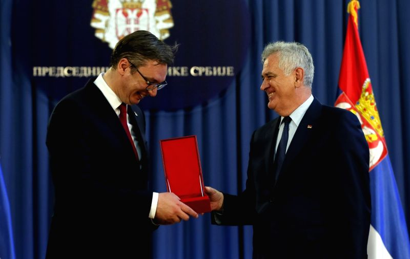 BELGRADE, May 31, 2017 - Serbia's President-elect Aleksandar Vucic (L) receives presidential seal from incumbent Serbian President Tomislav Nikolic during the handover of duty in Belgrade, Serbia, ...