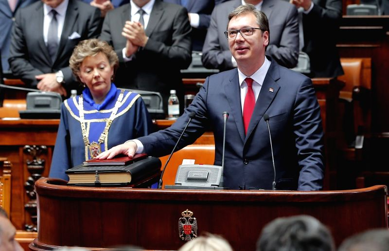 BELGRADE, May 31, 2017 - Serbia's President-elect Aleksandar Vucic (R) takes oath of office in Belgrade, Serbia, May 31, 2017. Vucic was elected for the role of president on April 2.