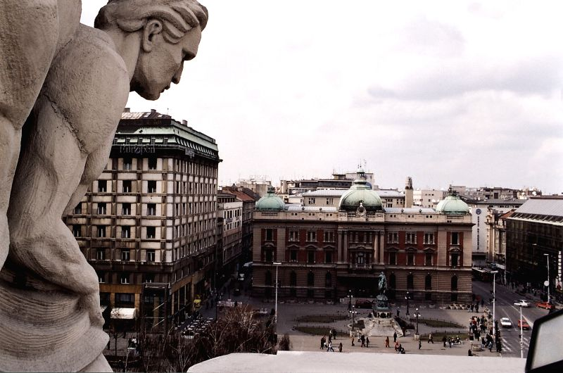 Belgrade's Republic Square from top.