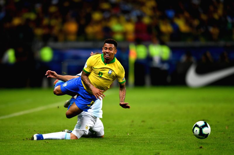 BELO HORIZONTE, July 3, 2019 (Xinhua) -- Gabriel Jesus (front) of Brazil competes during the Copa America 2019 semifinal match between Argentina and Brazil, held in Belo Horizonte, Brazil, July 2, 2019. (Xinhua/Xin Yuewei)