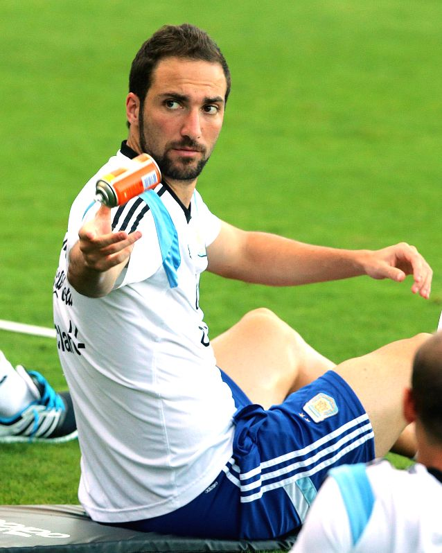 Argentina's Gonzalo Higuain is seen during a training session in Belo Horizonte, Brazil, July 6, 2014. Argentina will competes with Netherlands in a ...