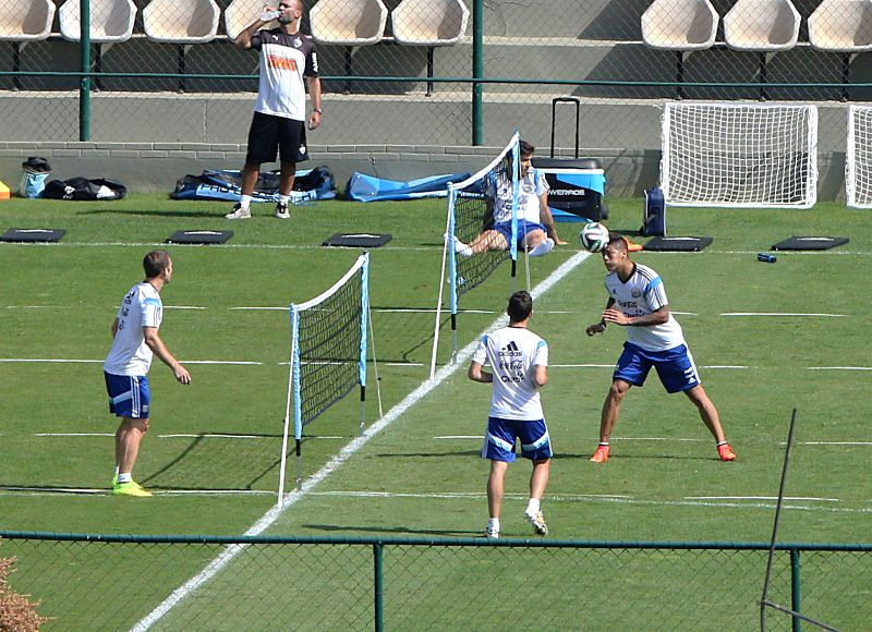 Players of Argentina take part in a training session in Belo Horizonte, Brazil, on July 7, 2014. Argentina will play the Netherlands in their 2014 World Cup ..