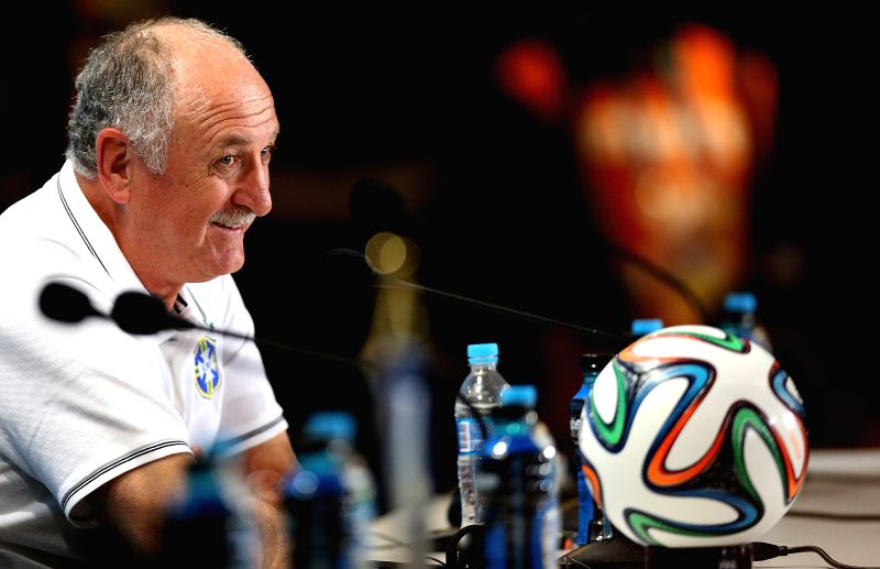 Luiz Felipe Scolari, head coach of Brazil reacts during a press conference in Belo Horizonte, Brazil, on July 7, 2014. Brazil will play Germany in their 2014 .