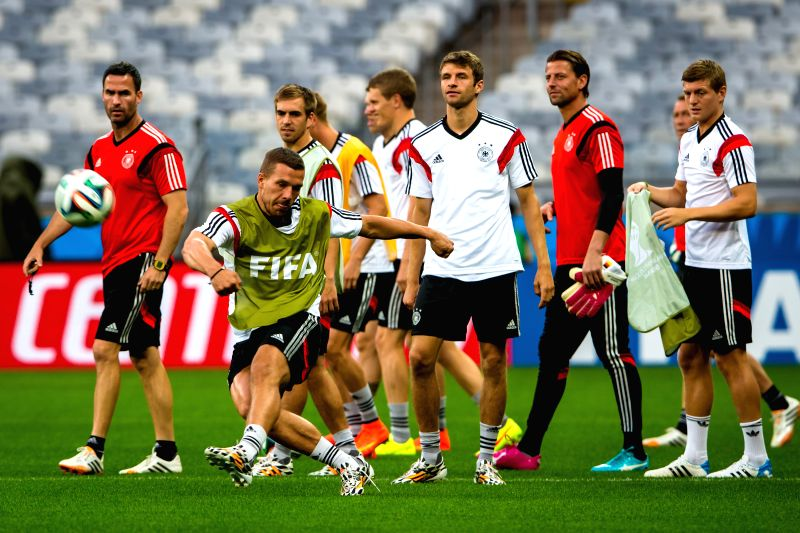 Players of Germany take part in a training session in Belo Horizonte, Brazil, on July 7, 2014. Germany will play Brazil in their 2014 World Cup semifinal here