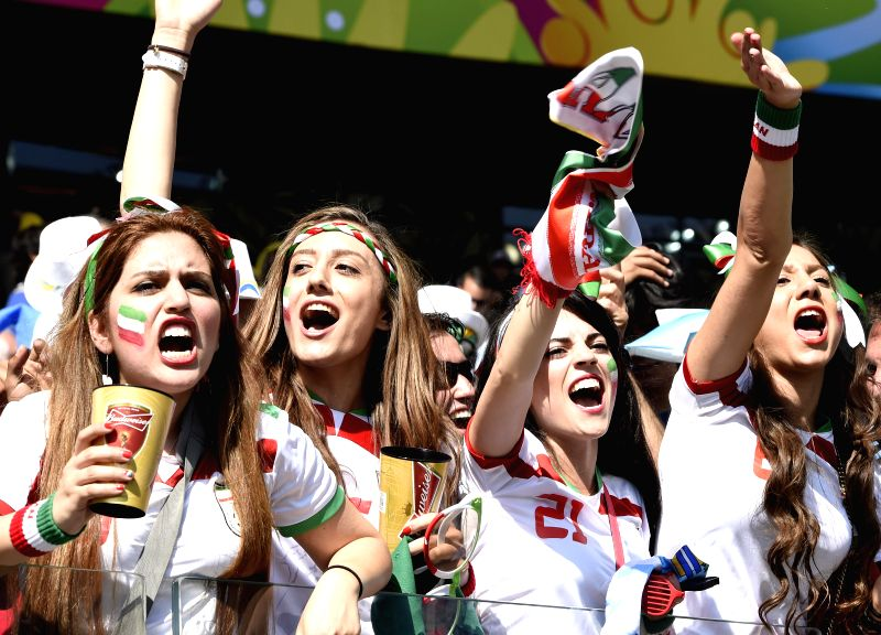 Fans of Iran cheer ahead of a Group F match between Argentina and Iran of 2014 FIFA World Cup at the Estadio Mineirao Stadium in Belo Horizonte, Brazil, June