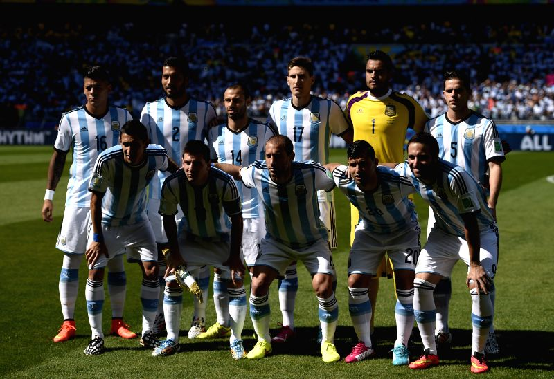Players of Argentina line up ahead of a Group F match between Argentina and Iran of 2014 FIFA World Cup at the Estadio Mineirao Stadium in Belo Horizonte, ...