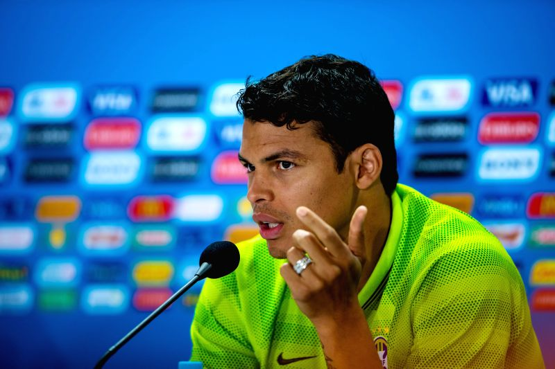 Brazil's Thiago Silva attends a press conference after a  training session in Belo Horizonte, Brazil, June 27, 2014. Brazil's national football team ...