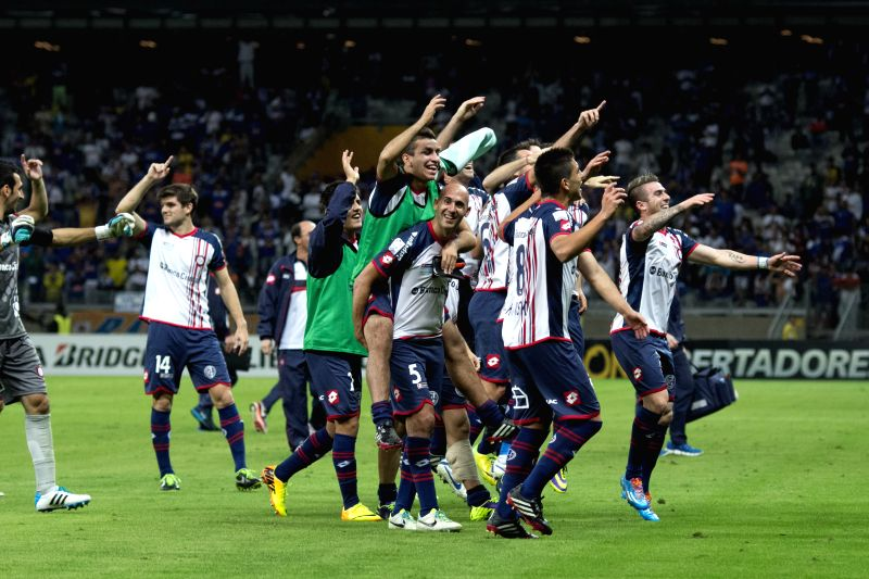 Players of San Lorenzo celebrate after the second leg quarterfinal match of the Libertadores Cup, against Cruzeiro, held at Mineirao Stadium, in Belo ...